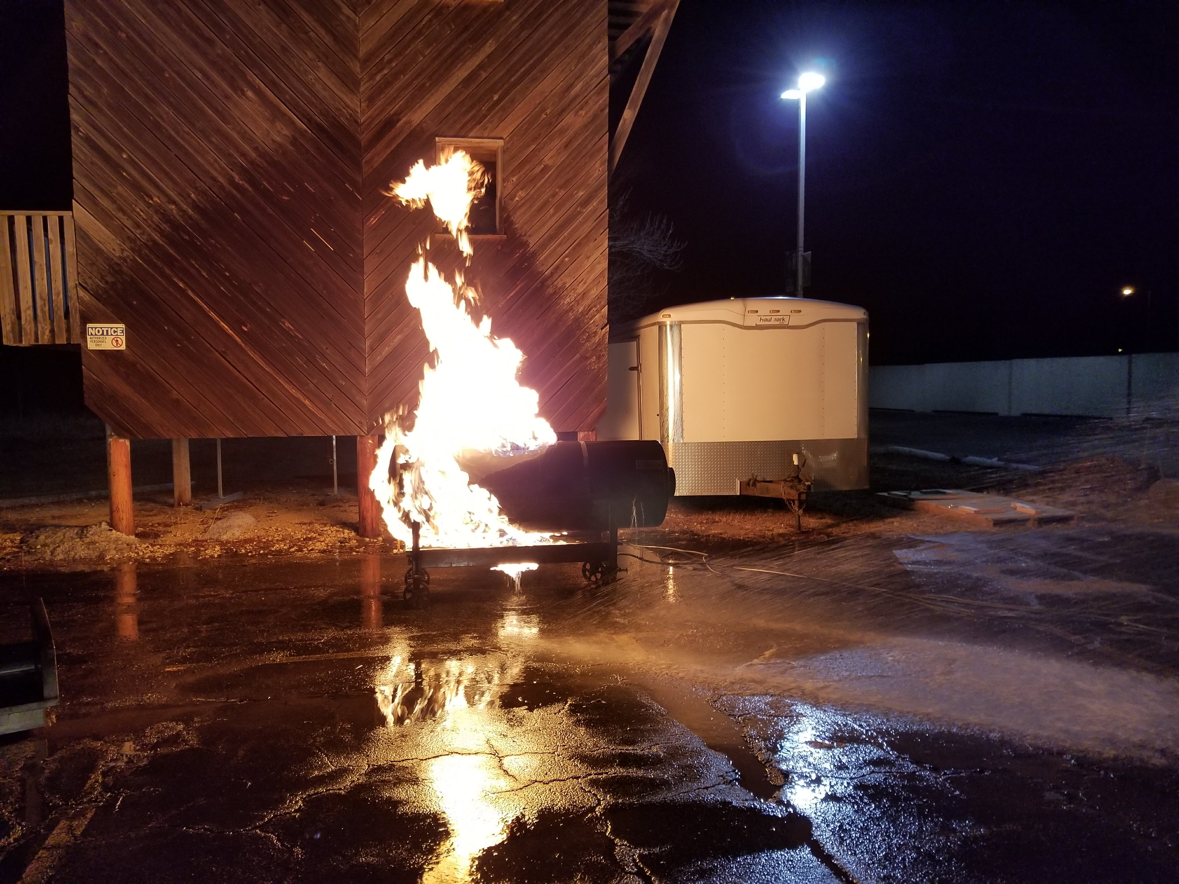 Propane tank on fire for fire simulation