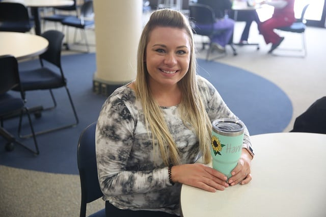 Hannah Kopp in cafeteria