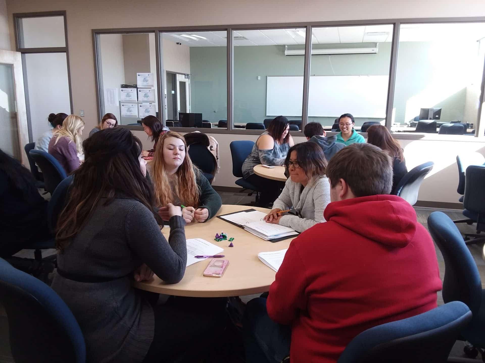 Students discussing interview questions