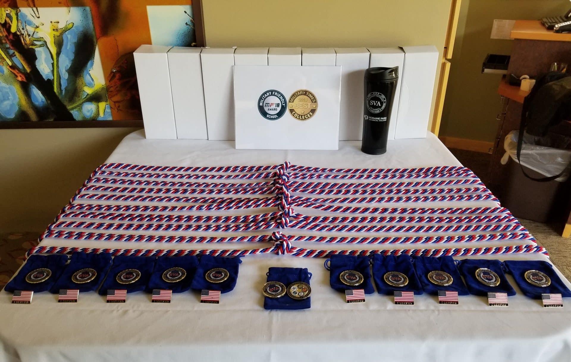 veteran awards on a table