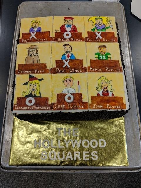Hollywood squares theme cake