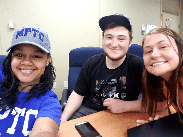 Danairis Melendez (left), Jason Landt (center), and Delaney Tisdale (right) are looking forward to using their writing skills in their healthcare professions once they graduate from MPTC.