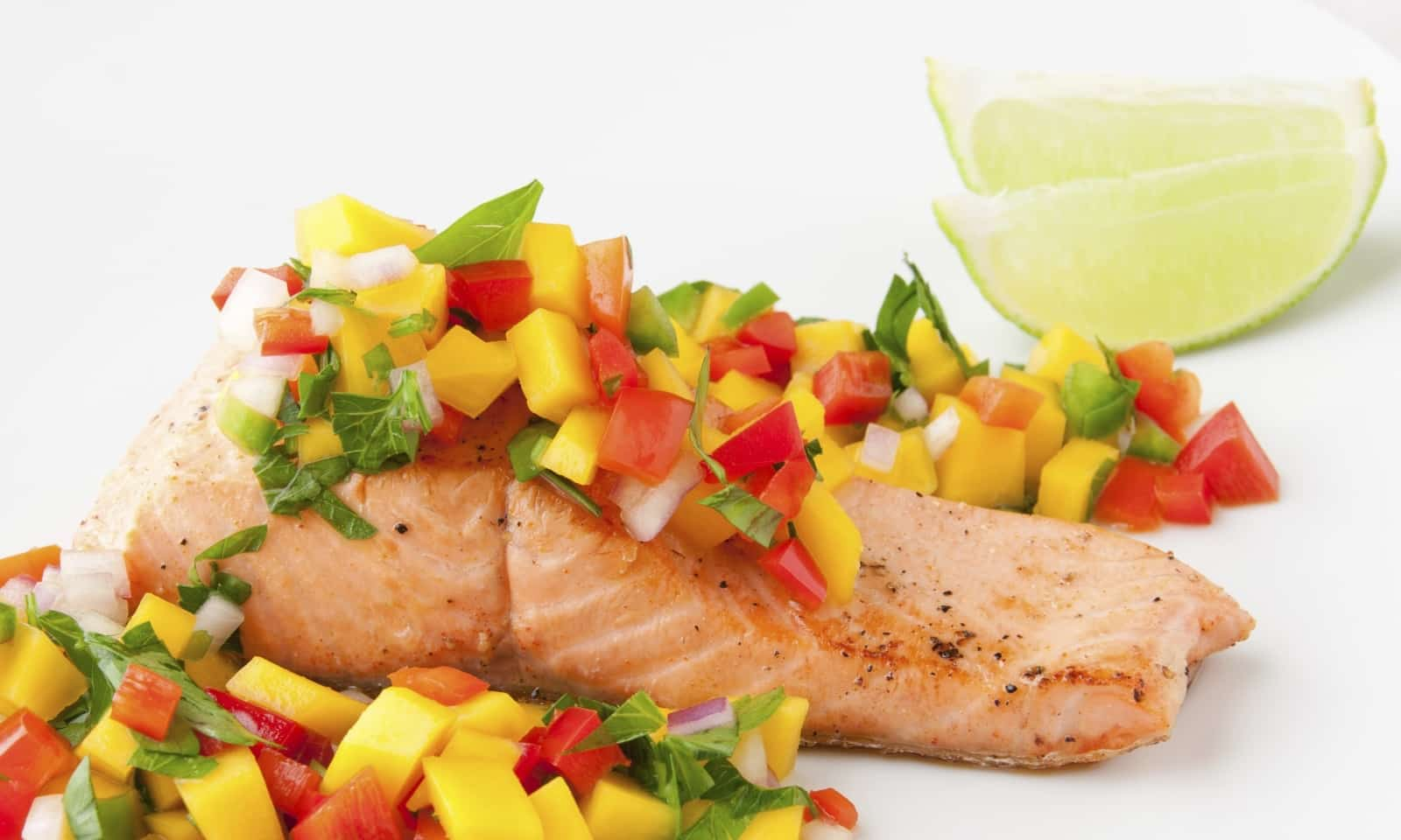 salmon with salsa dish