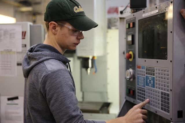 Student On Machine