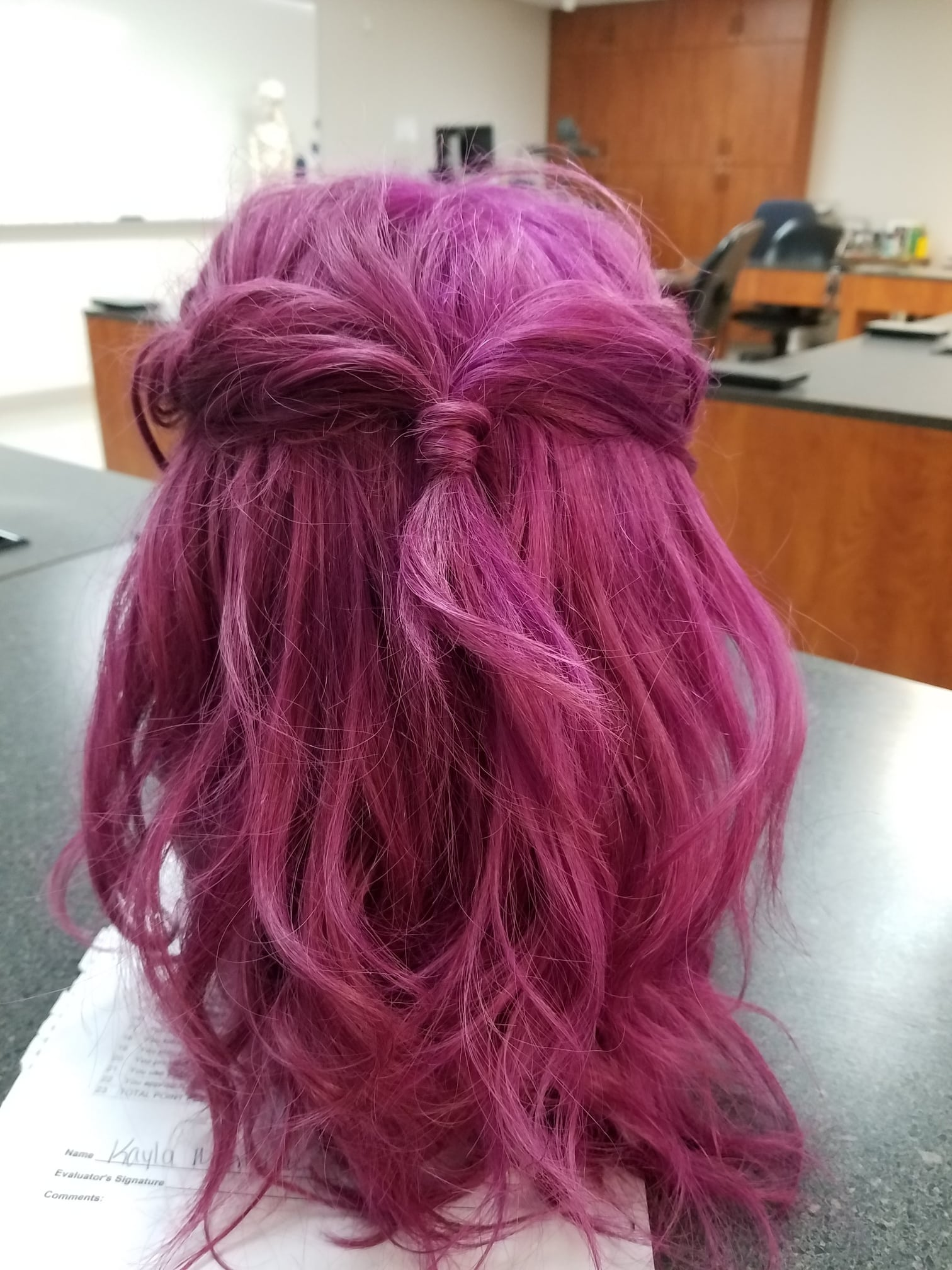 Cosmetology student manikin head